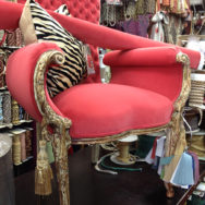 Reupholstered chair at Fabric City Inc Queens NY Fabric Store